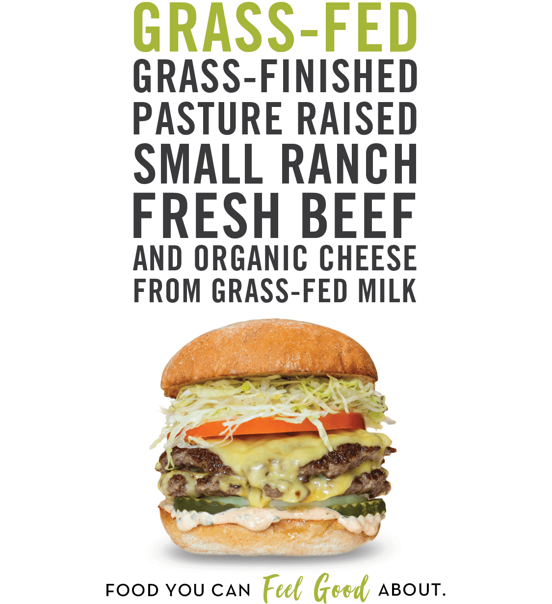 The Husky - grass-fed, grass-finished pasture raised beef and organic cheese from grass-fed milk, only at Burger Lounge